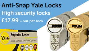 Anti snap locks are available for pad upvc door handles