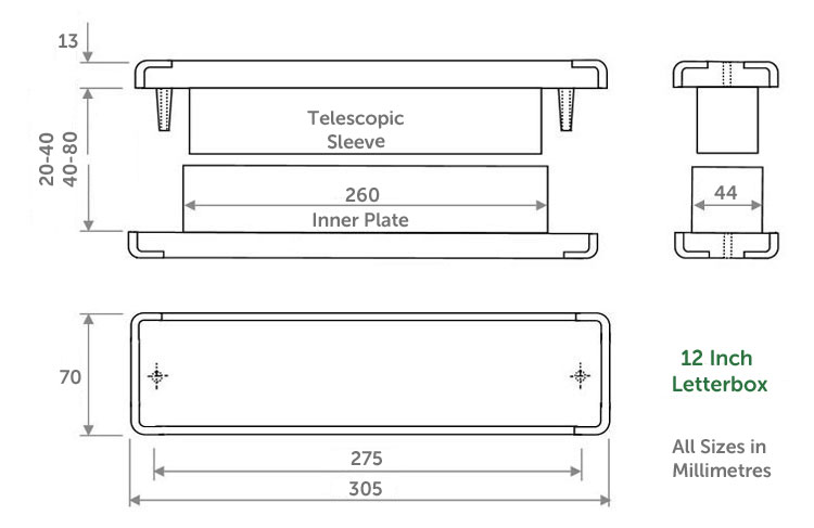 Diagram Image for LB22 - 12 inch uPVC Letterbox