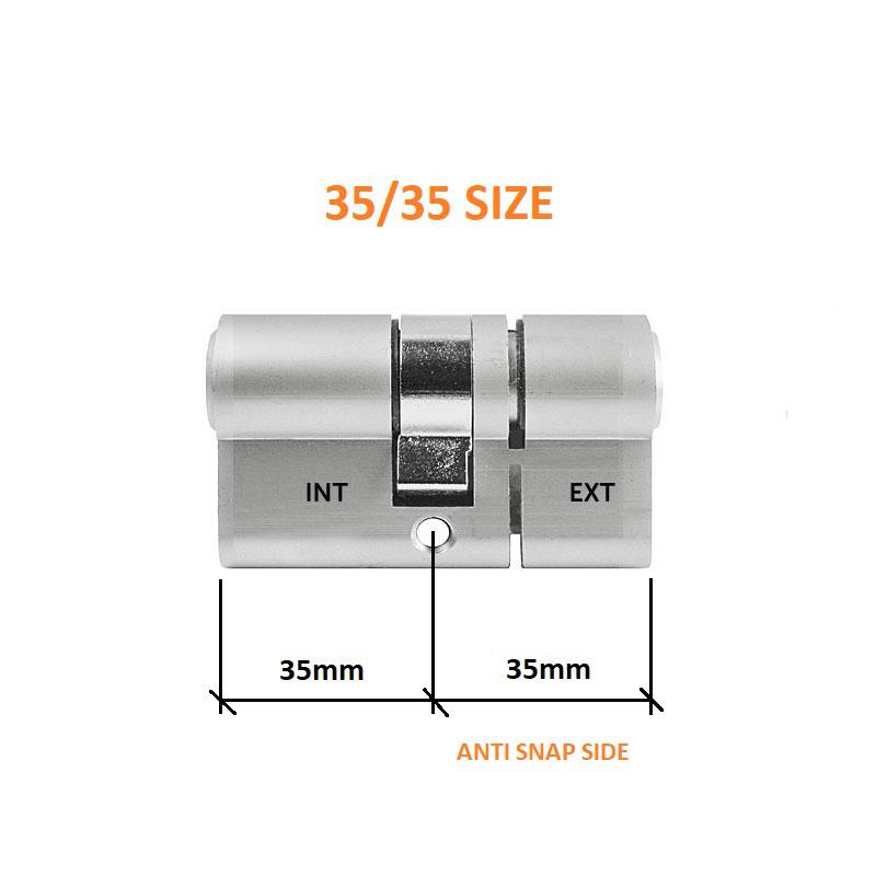 Diagram Image for DL37 - 3 Star Anti Snap Lock Euro Cylinder 35/35