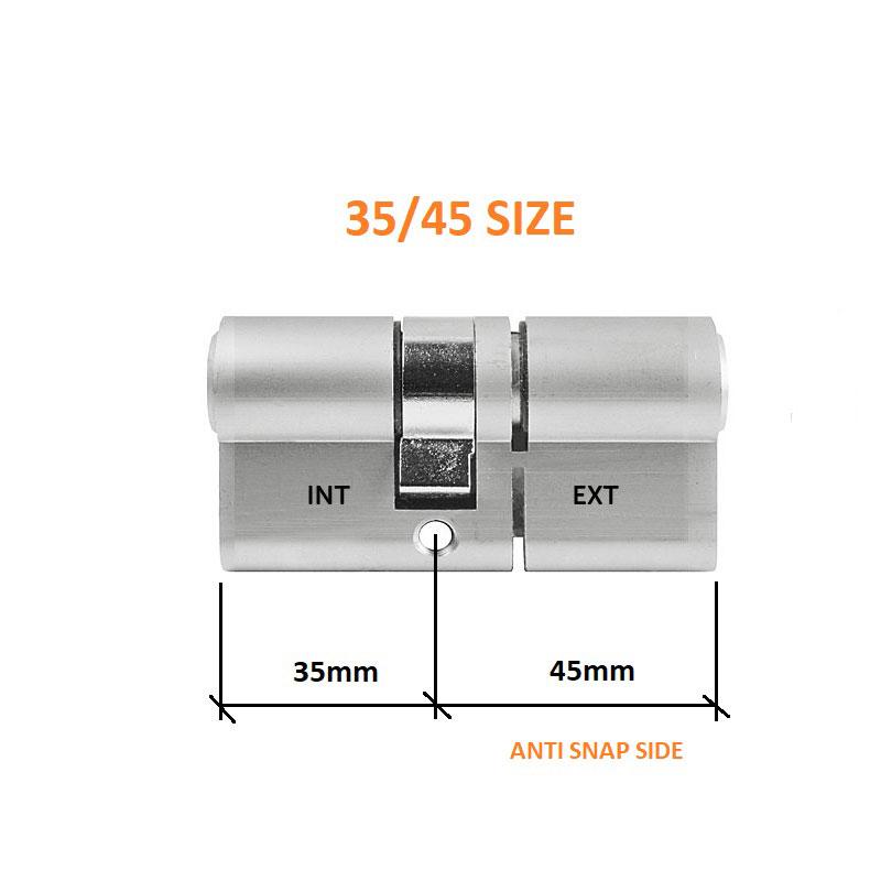 Diagram Image for DL37 - 3 Star Anti Snap Lock Euro Cylinder 35/45
