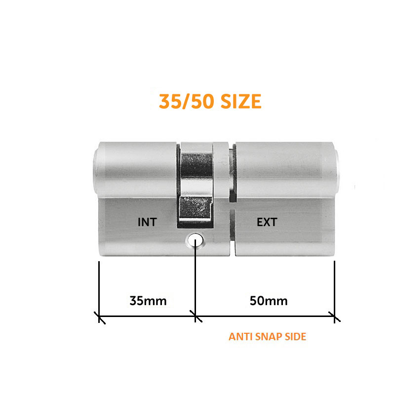 Diagram Image for DL37 - 3 Star Anti Snap Lock Euro Cylinder 35/50