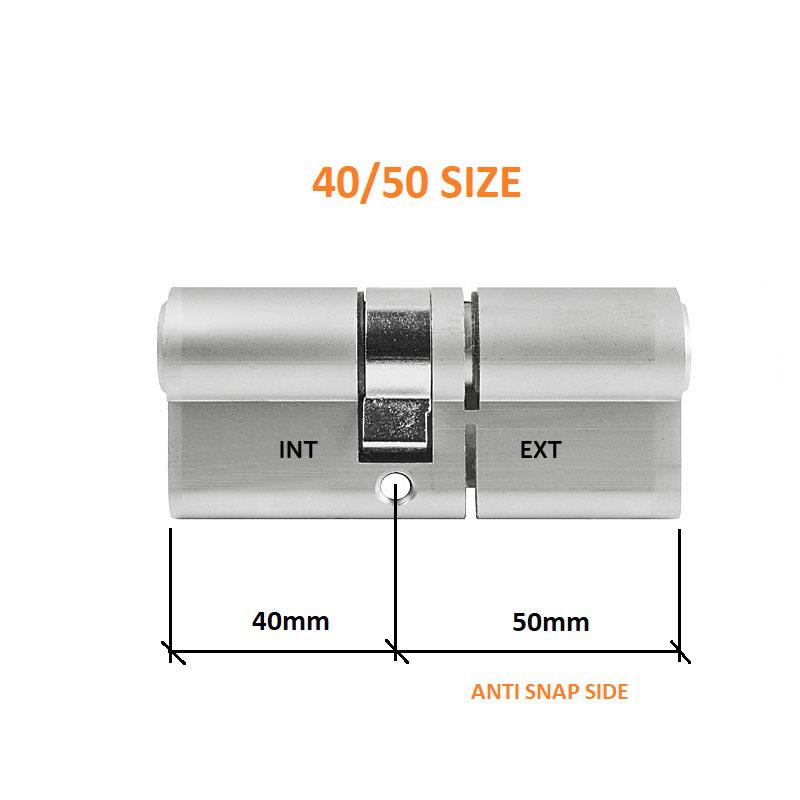 Diagram Image for DL37 - 3 Star Anti Snap Lock Euro Cylinder 40/50