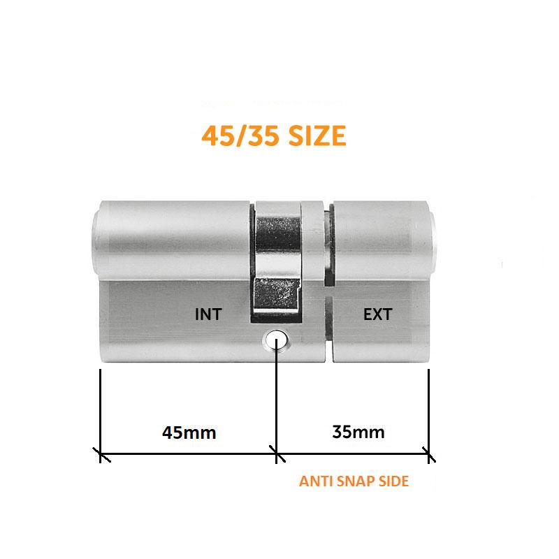 Diagram Image for DL37 - 3 Star Anti Snap Lock Euro Cylinder 45/35