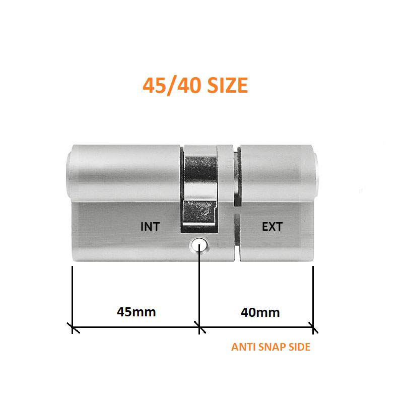 Diagram Image for DL37 - 3 Star Anti Snap Lock Euro Cylinder 45/40