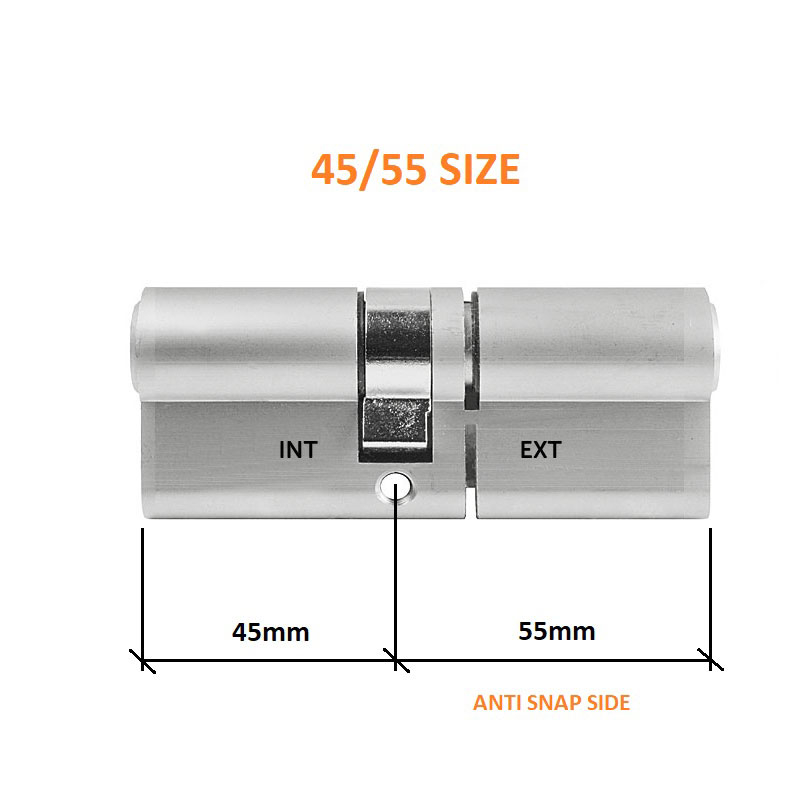 Diagram Image for DL37 - 3 Star Anti Snap Lock Euro Cylinder 45/55