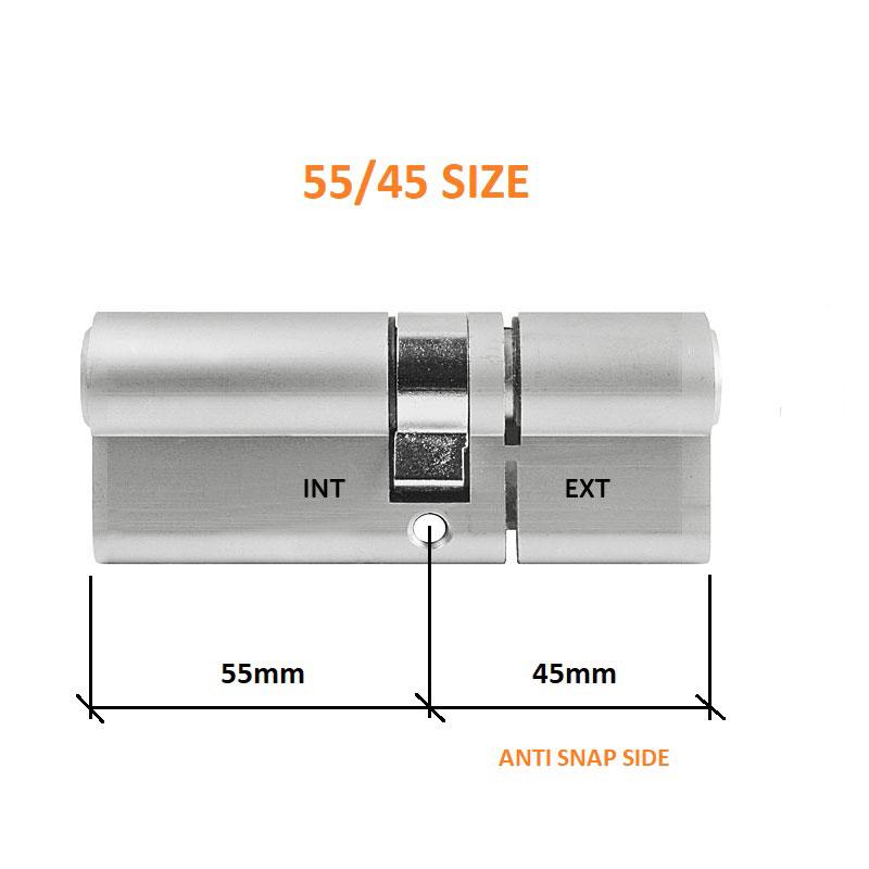 Diagram Image for DL37 - 3 Star Anti Snap Lock Euro Cylinder 55/45