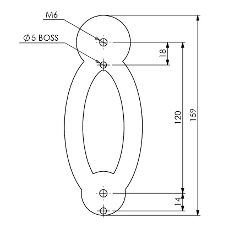 Diagram Image for DK15 Modern Oval Door Knocker
