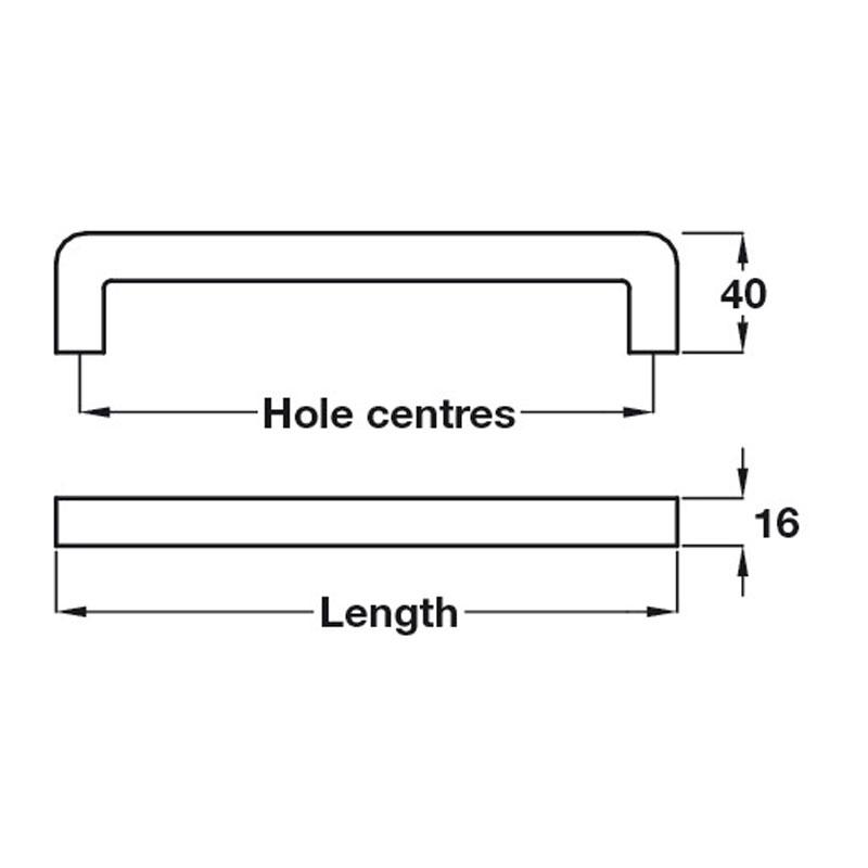 Diagram Image for CH404Square BarPull Handle