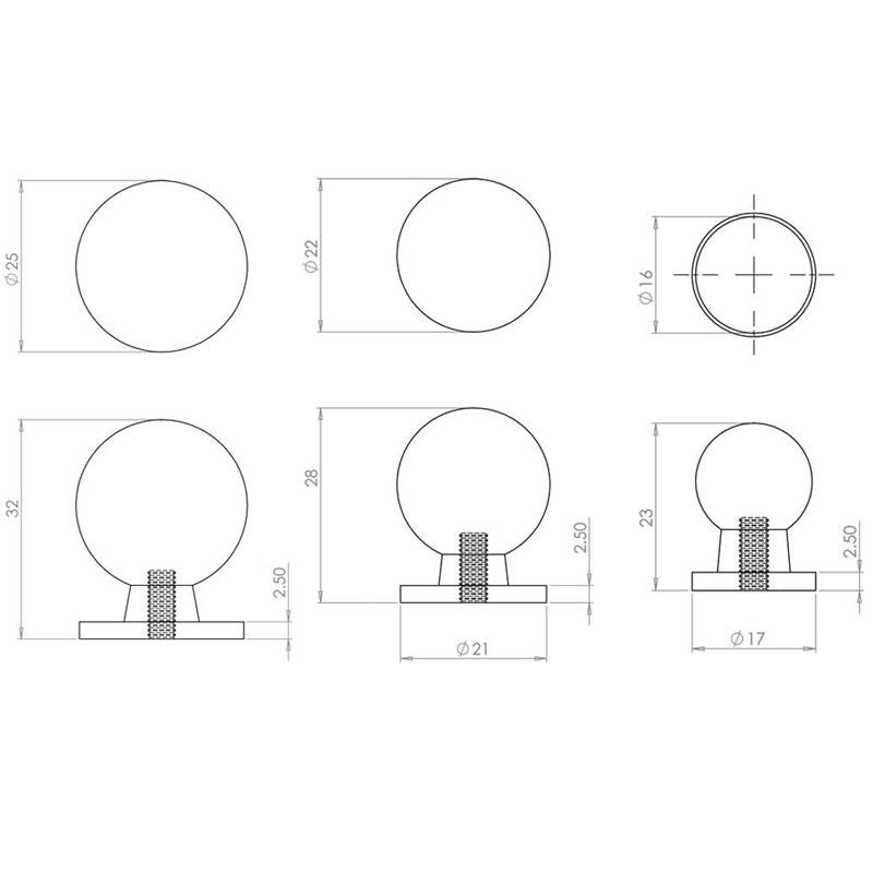 Diagram Image for CH426 Palla Cupboard Knob
