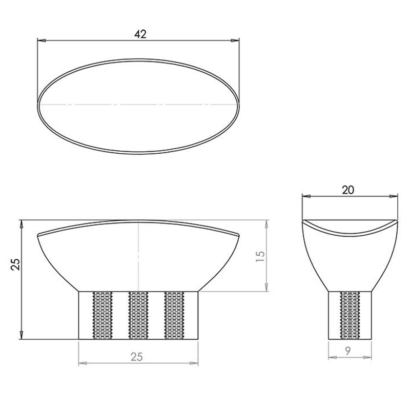 Diagram Image for CH427 Oval Shaped Cupboard Knob