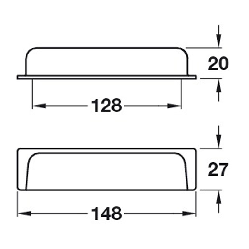 Diagram Image for CH435 Rectangular Cup Handle
