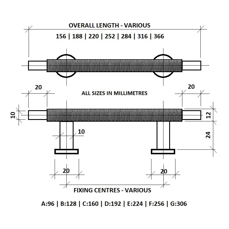 Diagram Image for CH445 Knurled T Bar Pull Handle