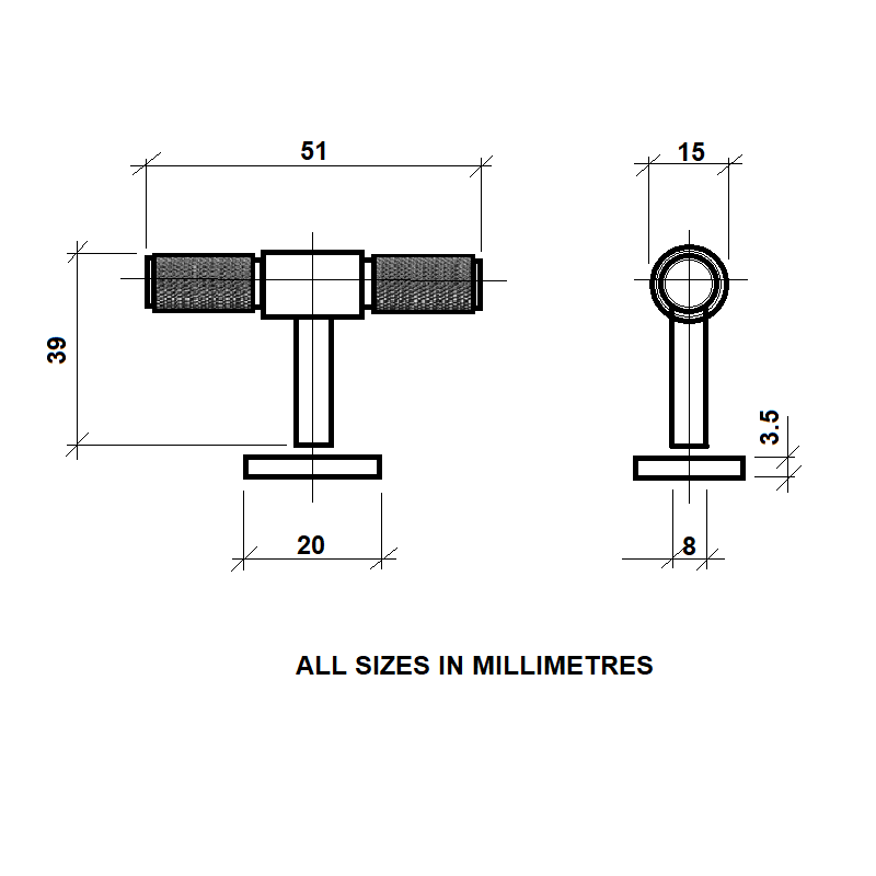 Diagram Image for CH447 Knurled T Bar Pull Handle