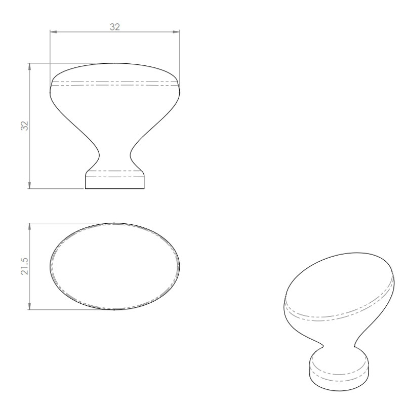 Diagram Image for CH88 Oval Pattern Cupboard Knob