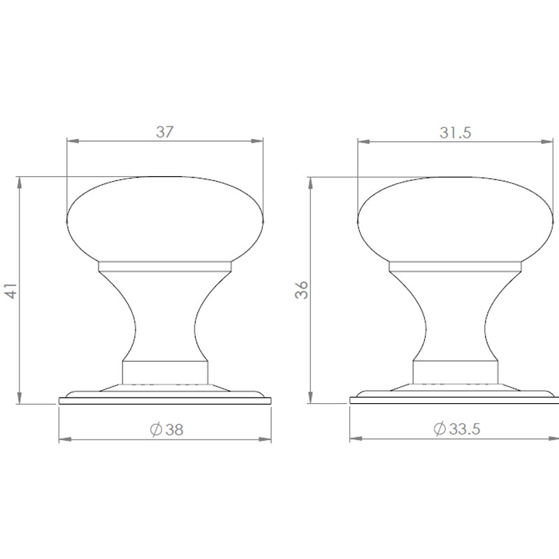 Diagram Image for CH97 Hollow Cupboard Knob
