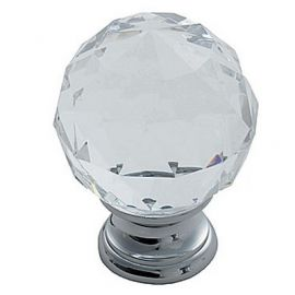 CH142 Faceted Glass Knob, PC, 25mm