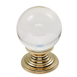 Ch143 Glass Cupboard Knobs Clear Translucent Brass Size A