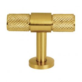 CH447 Knurled T Bar Pull Handle in Satin Brass