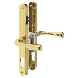 D75 Upvc Door Lever Handle With Snib Brass Polished 68mm 107mm 215mm