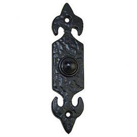 Black Fleur-de-lys door bell push.