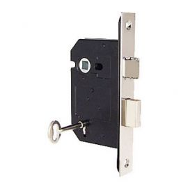 Mortice Sash Lock for interior doors in polished chrome finish.