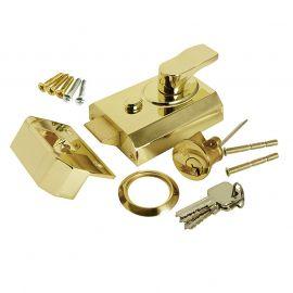 DL17 Rim Cylinder Night latch in polished brass, 40mm size