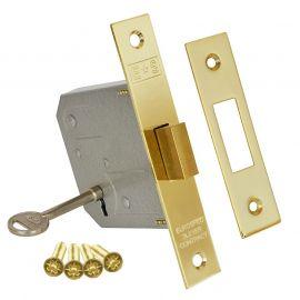DL33 3 Lever Mortice deadlock, 2.5 inch, brass