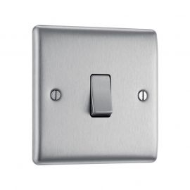 Brushed Steel LS01 Screw Plate 1 Gang Light Switch