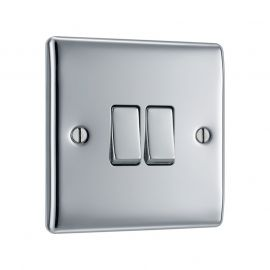 Polished Chrome LS02 Screw Plate 2 Gang Light Switch