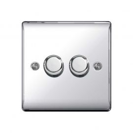 Polished Chrome LS10 Screw Plate 2 Gang Dimmer Switch