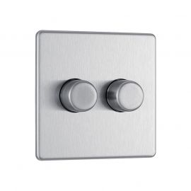 Brushed Steel LS12 Screwless Plate 2 Gang Dimmer Switch