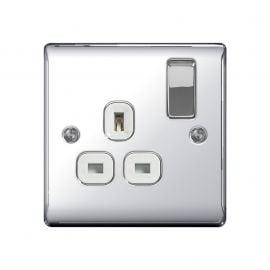 Polished Chrome PS01 Screw Plate 1 Gang Plug Socket