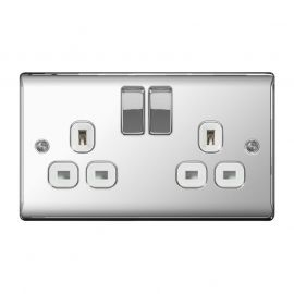 Polished Chrome PS02 Screw Plate 2 Gang Plug Switch