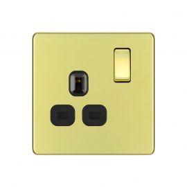 Polished Brass PS03 Screwless Plate 1 Gang Plug Socket
