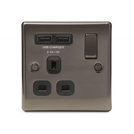 Black Nickel PS05 Screw Plate 1 Gang USB Plug Socket