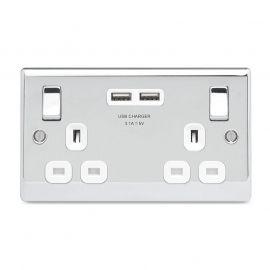 Polished Chrome PS06 Screw Plate 2 Gang USB Plug Switch