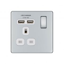 Polished Chrome PS07 Screwless Plate 1 Gang USB Plug Socket