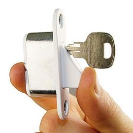 SW10 Spring Loaded Sash Window Restrictor With key, White