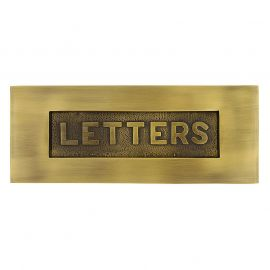 Victorian Embossed Letter Plate Antique Brass 254 x 101