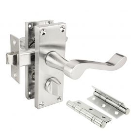 Z206 Satin Chrome Privacy Door Handle Pack