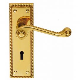 Z608 Georgian Squared Lever Lock Solid Brass Door Handle Polished Brass
