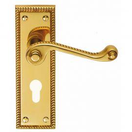 Z609 Georgian Squared Euro Lock Solid Brass Door Handle Polished Brass