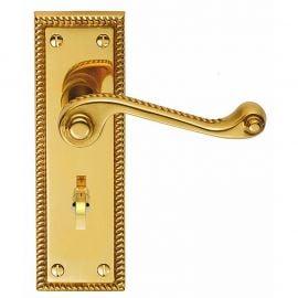 Z610 Georgian Squared Bathroom Solid Brass Door Handle Polished Brass