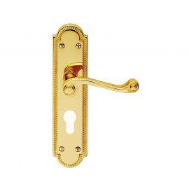 Z614 Georgian Shaped Euro Lock Solid Brass Door Handle Polished Brass
