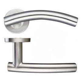 Z74 Arched Lever Rose Door Handle Satin Stainless Steel