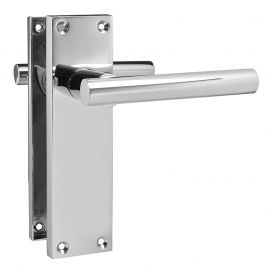 Z740 T-Bar Lever Backplate Latch Door Handle, Polished chrome