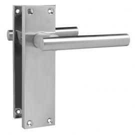 Z740 T-Bar Lever Backplate Latch Door Handle, Satin Chrome