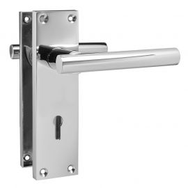 Z741 T-Bar Lever Backplate Lock Door Handle, Polished Chrome
