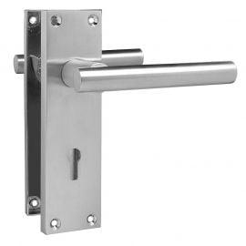 Z741 T-Bar Lever Backplate Lock Door Handle, Satin Chrome