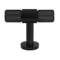 CH447 Knurled T Bar Pull Handle in Black